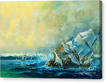 The Vasa Sinks Canvas Print by English School