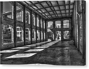 The Venue Bw Old Mill Wedding Venue Reedy River South Caroline Art Canvas Print by Reid Callaway