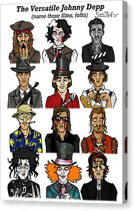 Mad Hatter Canvas Print - The Versatile Johnny Depp by Sean Williamson