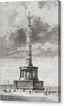 Berlin Canvas Print - The Victory Column In The Tiergarten by Vintage Design Pics