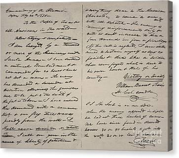The Victory Of Death Letter Written By The Alamo Commander William Barret Travis, 1836  Canvas Print
