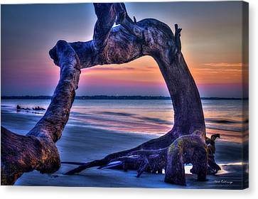 The View Driftwood Beach Jekyll Island Sunrise Art Canvas Print by Reid Callaway