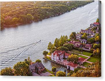 Pennybacker Bridge Canvas Print - The View From Mt. Bonnell At Sunset - Austin Texas Hill Country by Silvio Ligutti