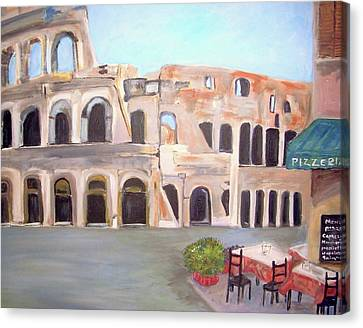 The View Of The Coliseum In Rome Canvas Print by Teresa Dominici