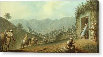 The Village Of Betania With A View Of The Dead Sea Canvas Print by Luigi Mayer