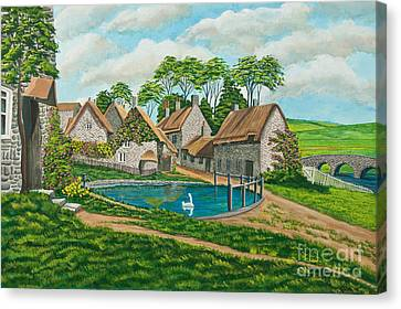 The Village Pond In Wroxton Canvas Print by Charlotte Blanchard