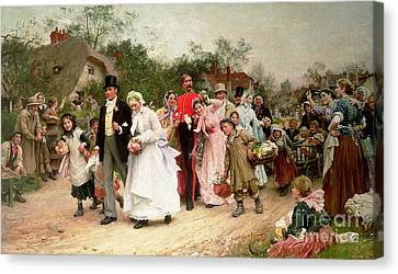 Country Cottage Canvas Print - The Village Wedding by Sir Samuel Luke Fildes
