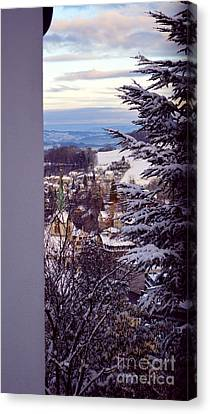 Canvas Print featuring the photograph The Village - Winter In Switzerland by Susanne Van Hulst