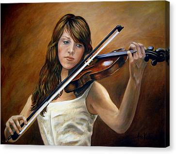 The Violinist Canvas Print by Anne Kushnick