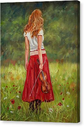 Red Dress Canvas Print - The Violinist by David Stribbling