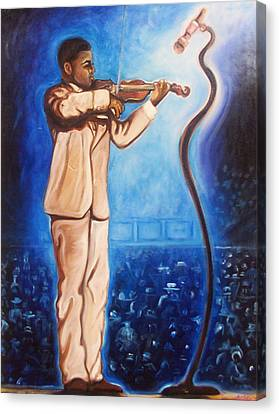 Canvas Print featuring the painting The Violinist by Emery Franklin