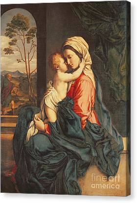 Madonna Canvas Print - The Virgin And Child Embracing by Giovanni Battista Salvi