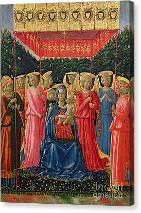 The Virgin And Child With Angels Canvas Print by Fra Angelico