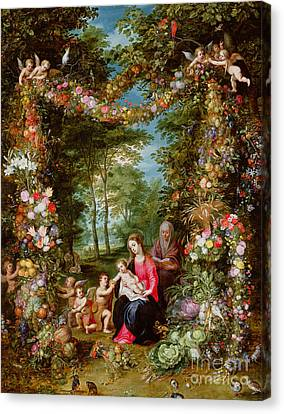 The Virgin And Child With The Infant Saint John The Baptist, Saint Anne And Angels, Surrounded By A  Canvas Print by Brueghel and Balen