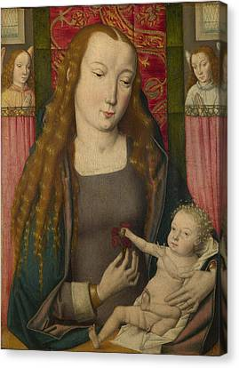 The Virgin And Child With Two Angels Canvas Print by Follower of the Master of the Saint Ursula Legend Bruges
