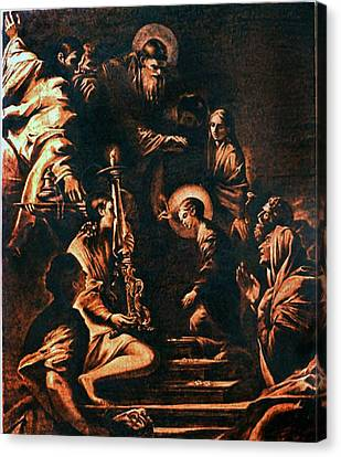 The Virgin Entering The Temple Canvas Print by Dino Muradian