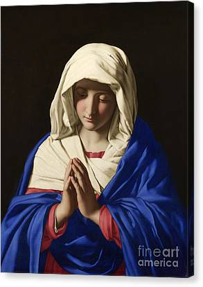 The Virgin In Prayer Canvas Print by Celestial Images