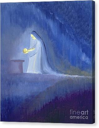Manger Canvas Print - The Virgin Mary Cared For Her Child Jesus With Simplicity And Joy by Elizabeth Wang