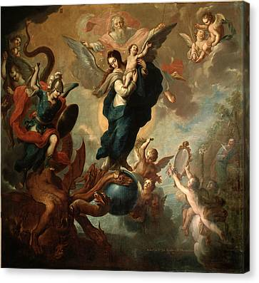 Canvas Print featuring the painting The Virgin Of The Apocalypse by Miguel Cabrera