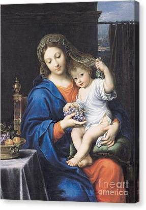 Madonna Canvas Print - The Virgin Of The Grapes by Pierre Mignard