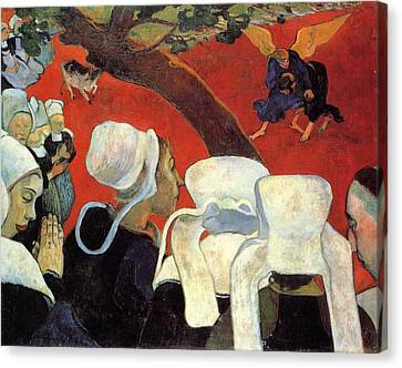 Christian Sacred Canvas Print - The Vision After The Sermon - Jacob Wrestling With The Angel by Paul Gauguin