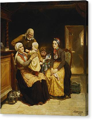 The Visit To The Grandparents Canvas Print by Adolph Tidemand