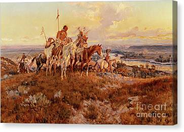 The Wagons Canvas Print by Charles Marion Russell