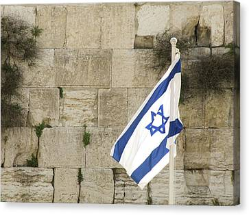 Canvas Print featuring the photograph The Wailing Wall And The Flag by Yoel Koskas