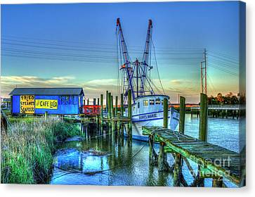 Canvas Print featuring the photograph The Waiting Shrimper Tybee Island Dawn Art by Reid Callaway
