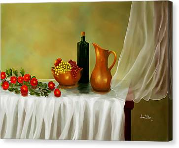 Canvas Print featuring the painting The Waiting Table by Sena Wilson