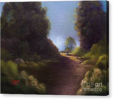 Canvas Print featuring the painting The Walk Home by Marlene Book