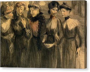 The Walk Canvas Print by Theophile Alexandre Steinlen