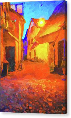 Port Town Canvas Print - The Walkabouts - Night Walk In A Small German Town by Serge Averbukh