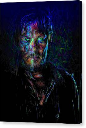 The Walking Dead Daryl Dixon Painted Canvas Print by David Haskett