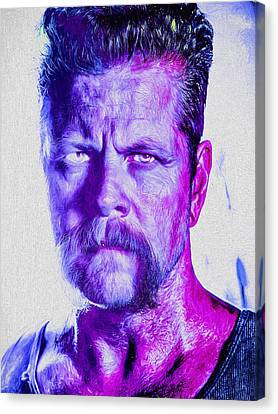 The Walking Dead Michael Cudlitz Sgt. Abraham Ford Painted Canvas Print by David Haskett