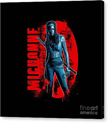 The Walking Dead - Michonne - Back To The Comic Book - The Walking Dead Amc - Zombie Killer Canvas Print by Paul Telling