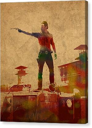 The Walking Dead Watercolor Portrait On Worn Distressed Canvas No 1 Canvas Print by Design Turnpike