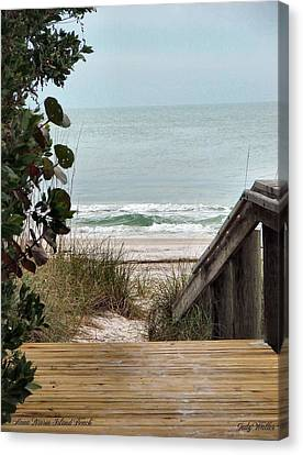 The Walkway To The Beach Canvas Print by Judy  Waller