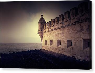 Sombre Canvas Print - Wall Of The Belem Tower by Mickael PLICHARD