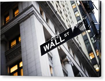Road Sign Canvas Print - The Wall Street Street Sign by Justin Guariglia
