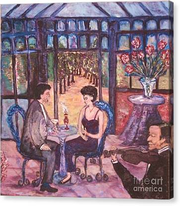 Canvas Print featuring the painting The Wandering Violinist by Helena Bebirian