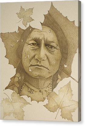 Canvas Print featuring the drawing The War Chief by Tim Ernst