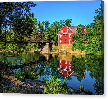 The War Eagle Arkansas Mill And Bridge IIi - Northwest Arkansas Canvas Print by Gregory Ballos