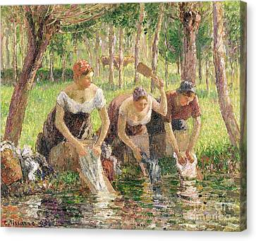 The Washerwomen Canvas Print by Camille Pissarro