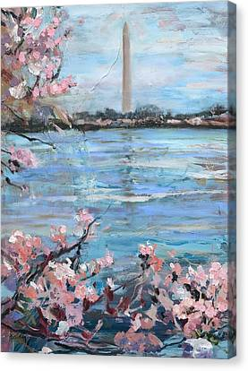 The Washington Monument At Cherry Blossom Festival Painting Canvas Print