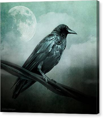 The Watcher Surreal Raven Crow Moon And Clouds Canvas Print