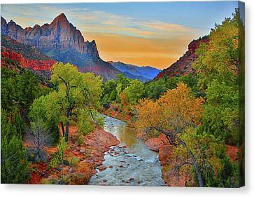 The Watchman And The Virgin River Canvas Print