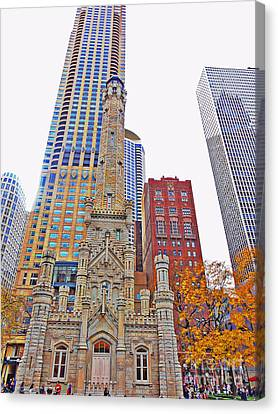 The Water Tower In Autumn Canvas Print
