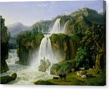 Cow Canvas Print - The Waterfall At Tivoli by Jacob Philippe Hackert