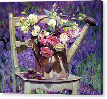The Watering Can Bouquet Canvas Print by David Lloyd Glover